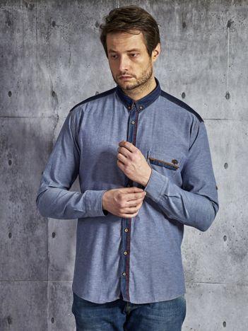 Denimowa bawełniana koszula męska ze wstawkami niebieska
