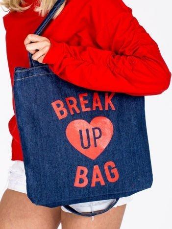 Denimowa granatowa torba BREAK UP BAG z sercem