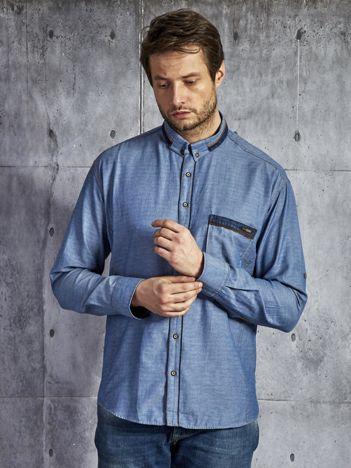 Denimowa koszula męska z bawełny niebieska PLUS SIZE