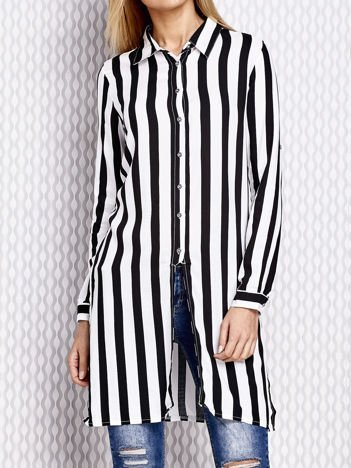 Długa koszula w paski czarna