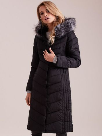 Długa kurtka zimowa z kapturem czarna
