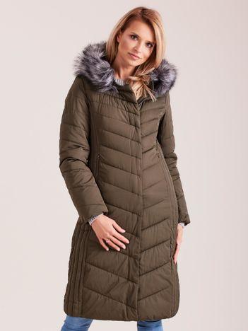 Długa kurtka zimowa z kapturem khaki