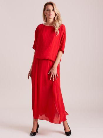 Długa zwiewna sukienka czerwona
