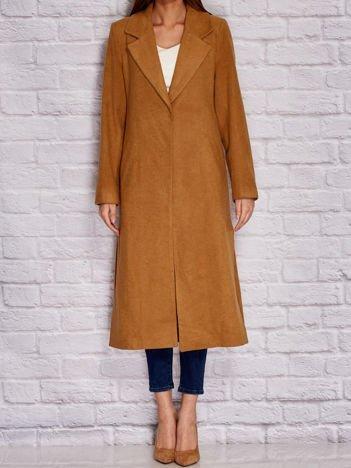 Długi klasyczny płaszcz brązowy