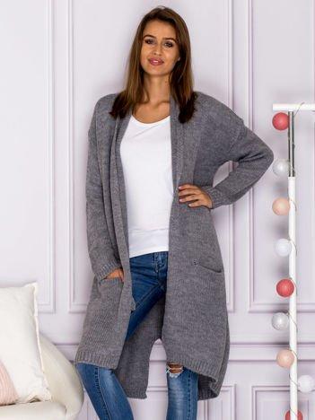 Długi otwarty sweter z kieszeniami i kopertowym karczkiem ciemnoszary