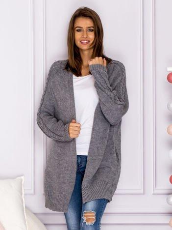 Długi sweter bez zapięcia z kieszeniami ciemnoszary