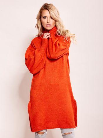 Długi sweter damski z szerokimi ściągaczami ciemnopomarańczowy