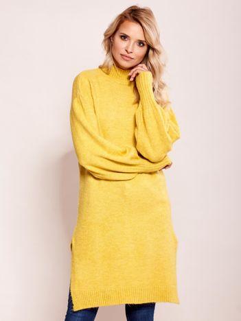 Długi sweter damski z szerokimi ściągaczami żółty