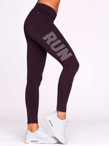 Długie legginsy do biegania z nadrukiem RUN ciemnofioletowe