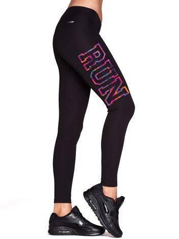 Długie legginsy do biegania z nadrukiem na udzie czarne