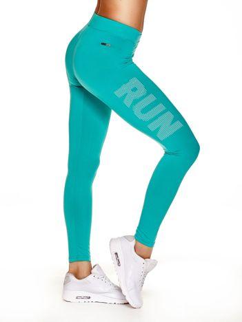 Długie legginsy do biegania z napisem RUN turkusowe