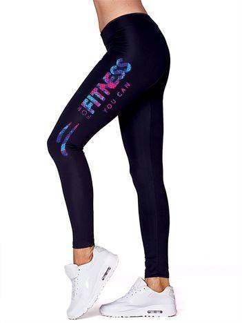Długie legginsy do fitnessu z nadrukiem na udzie czarne