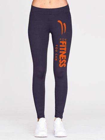 Długie legginsy fitness z napisem FOR FITNESS grafitowe