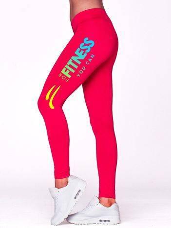 Długie legginsy na siłownię z motywem FITNESS fuksjowe