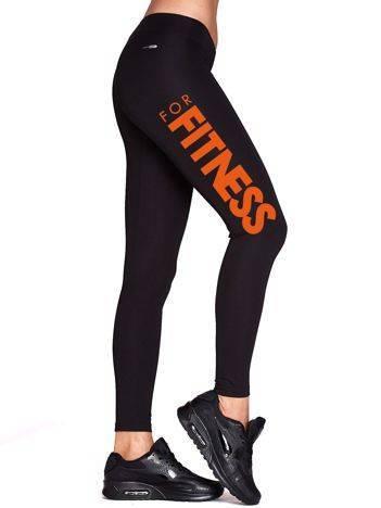 Długie legginsy na siłownię z napisem FITNESS czarne