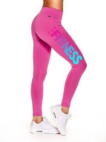 Długie legginsy na siłownię z napisem na udzie ciemnoróżowe
