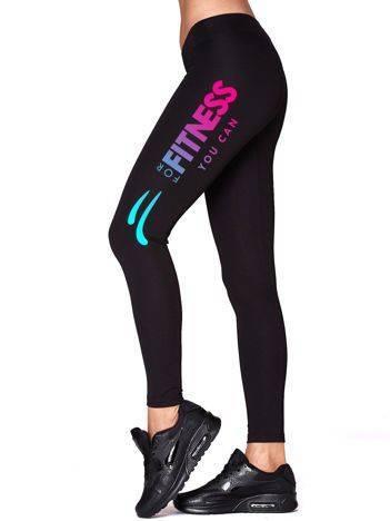 Długie legginsy sportowe z kolorowym nadrukiem czarne