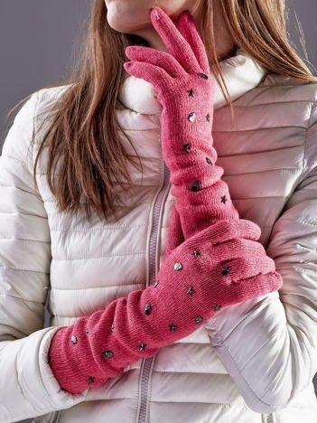 Długie rękawiczki z ćwiekami z domieszką wełny różowe
