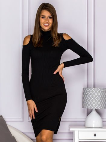 Dopasowana sukienka cut out w prążek czarna
