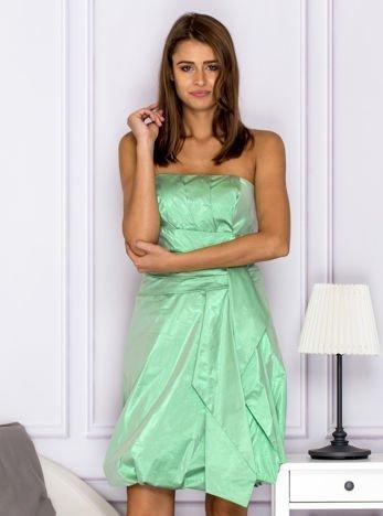 Drapowana sukienka z metalicznym połyskiem zielona