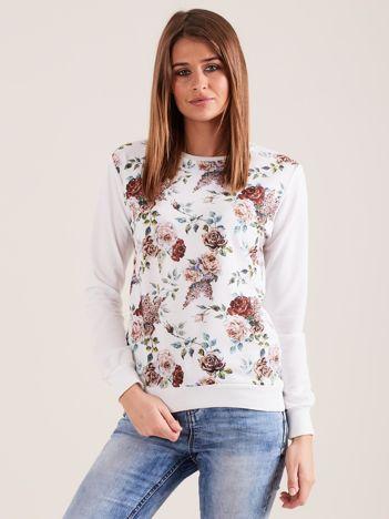 Dresowa bluza w kwiaty biała