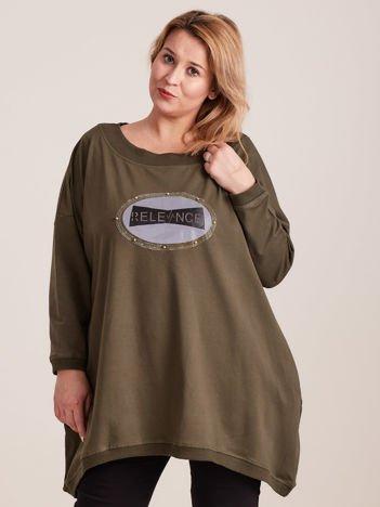 Dresowa khaki tunika z aplikacją PLUS SIZE