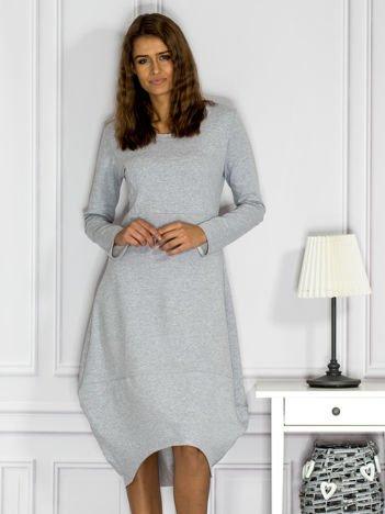 Dresowa sukienka z surowym wykończeniem szara