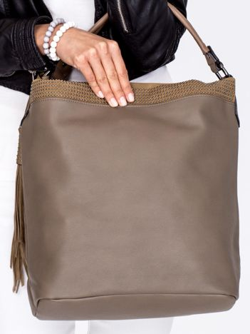 Duża ciemnobeżowa torba z ozdobnym paskiem