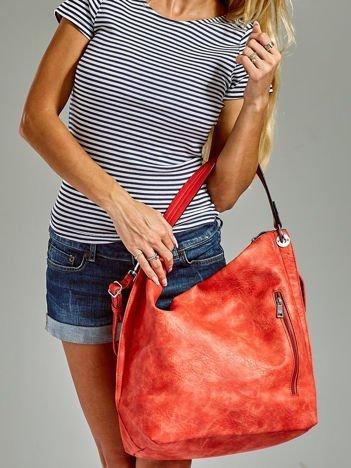 Duża torba skórzana shopper czerwona