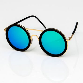 Duże okrągłe okulary NIEBIESKOZIELONE LUSTRZANKI z czarnymi oprawkami