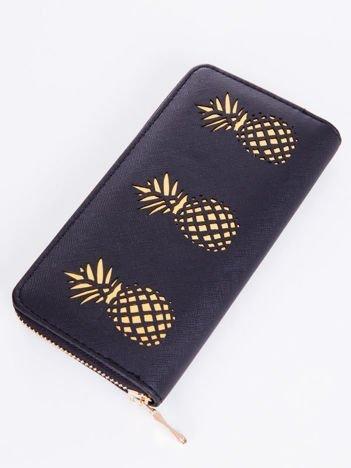 Duży portfel portmonetka KOPERTÓWKA czarny ze złotymi ananasami, wiele przegródek, pojemny