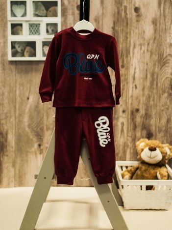 Dwuczęściowa bawełniana piżamka dla chłopca bordowa