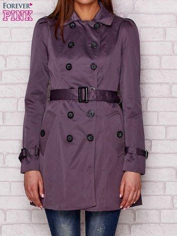 Dwurzędowy płaszcz z paskiem i kieszeniami grafitowy