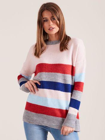 Dzianinowy sweter w kolorowe paski