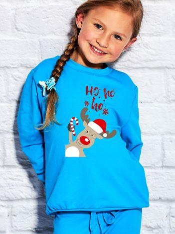 Dziecięca świąteczna bluza z reniferem i napisem HO HO HO turkusowa
