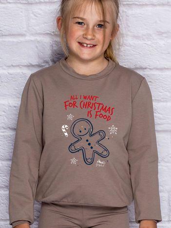 Dziecięca świąteczna bluza z zabawnym napisem kawowa