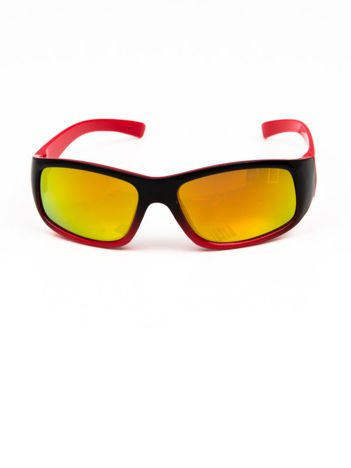 Dziecięce okulary przeciwsłoneczne LUSTRZANKI czerwono-czarne