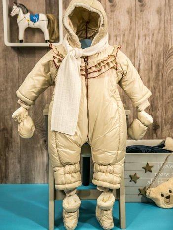 Dziecięcy kombinezon zimowy dla dziewczynki ocieplany futerkiem beżowy
