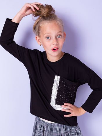 Dziewczęca czarna bluza z kieszenią i dżetami