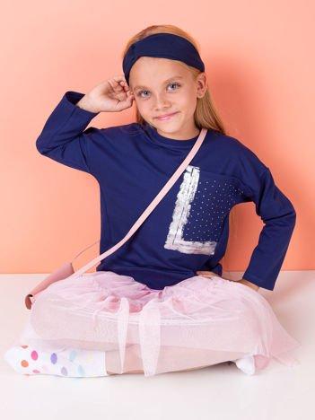 Dziewczęca granatowa bluza z kieszenią i dżetami