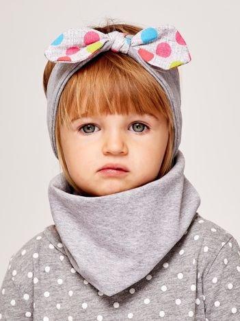 Dziewczęca opaska do włosów z kokardą w kolorowe kropki szara