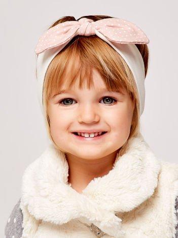 Dziewczęca opaska do włosów z kokardą w kropki ecru