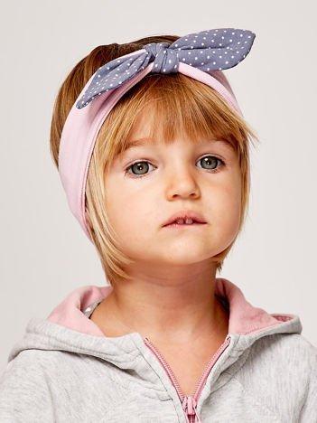 Dziewczęca opaska do włosów z kokardą w kropki jasnoróżowa