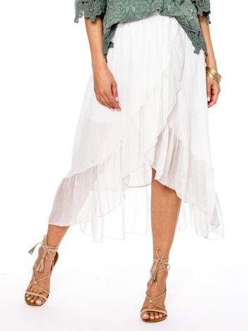 Ecru asymetryczna spódnica z falbanami