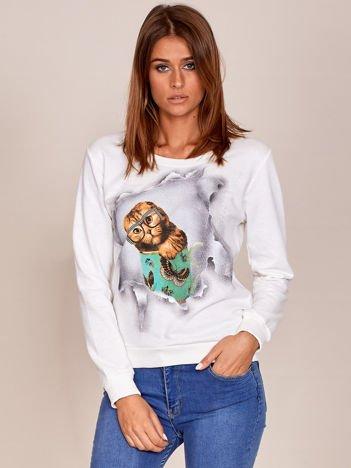 Ecru bawełniana bluza z nadrukiem kota