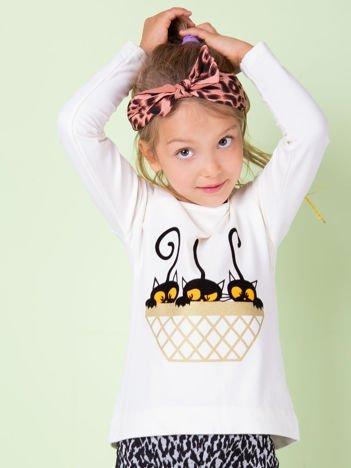 Ecru bawełniana bluzka dla dziewczynki