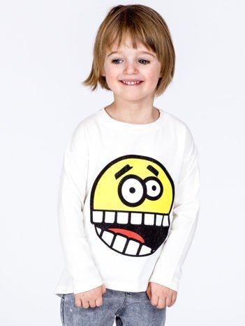 Ecru bawełniana bluzka dziecięca z zabawną emotikonką