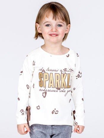Ecru bawełniana bluzka dziewczęca z nadrukiem i kokardkami