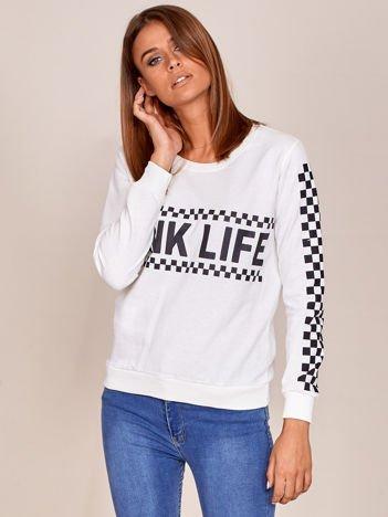Ecru bluza bawełniana z nadrukiem PINK LIFE