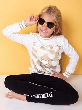 Ecru bluza dla dziewczynki z nadrukiem i perełkami